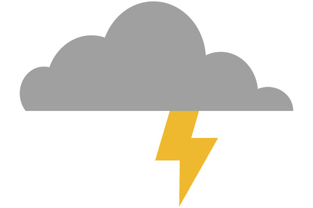 inclement weather: simple flat design cloud witn lightning ray icon vector illustration