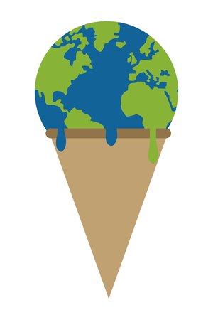 end of the world: simple flat design planet earth ice cream melting icon vector illustration Illustration