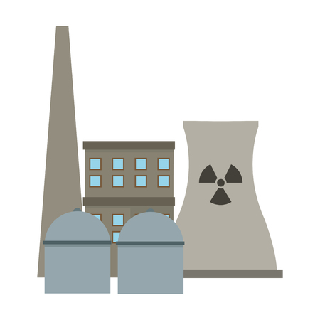 clipart chimney: flat design nuclear plant icon vector illustration