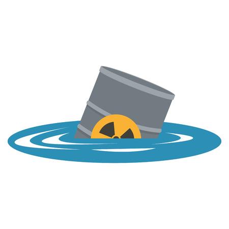 contaminacion del agua: diseño plano contaminación de desechos tóxicos en el icono del agua ilustración vectorial