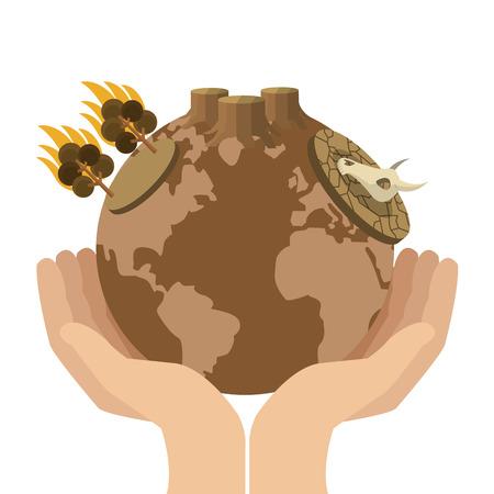arid: flat design hands holding arid planet earth icon vector illustration