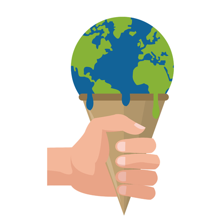 end of the world: simple flat design planet earth melting icon vector illustration Illustration