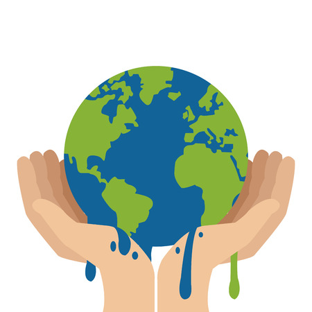 thaw: simple flat design hands holding planet earth melting icon vector illustration
