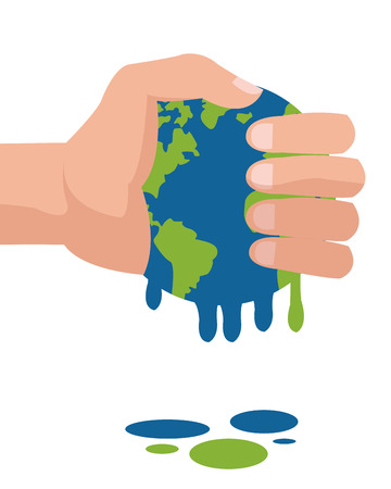 cataclysm: simple flat design hand holding planet earth melting icon vector illustration