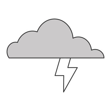 inclement: simple flat design cloud witn lightning ray icon vector illustration