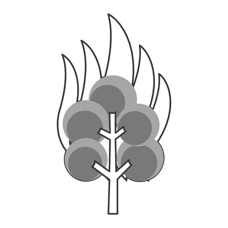 conflagration: simple flat design tree on fire icon vector illustration