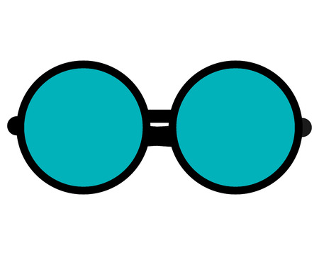 eyeglass: simple flat design round frame glasses icon vector illustration