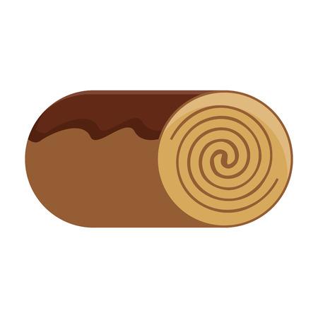 fruitcake: canela roll bakey product icon Isolated vector illustration