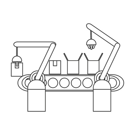 refinery engineer: Conveyor belt factory industry icon Isolated vector illustration