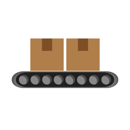 energy distribution: Conveyor belt factory industry icon Isolated vector illustration