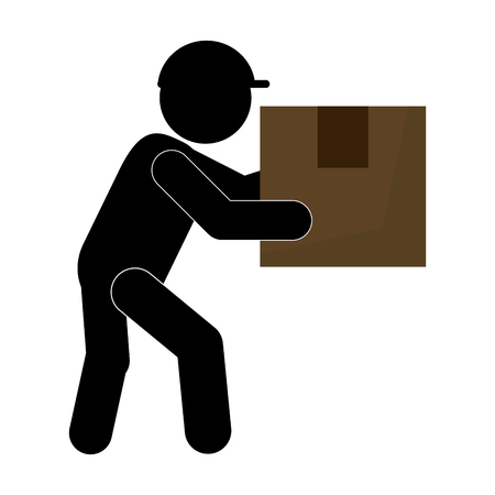 work crate: Man working transport box Isolated vector illustration Illustration