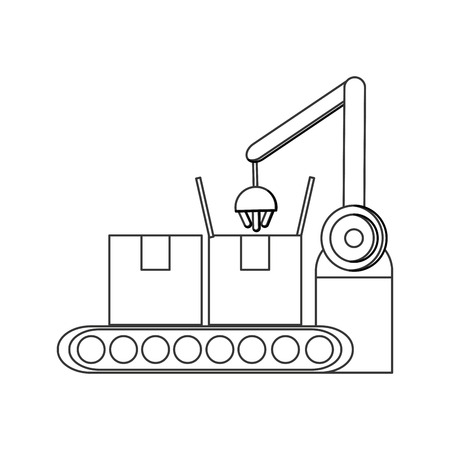 packaging equipment: Conveyor belt factory industry icon Isolated vector illustration