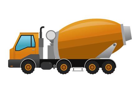 concrete mixer truck: flat design concrete mixer truck icon vector illustration