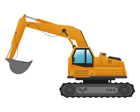 backhoe: flat design backhoe machine icon vector illustration