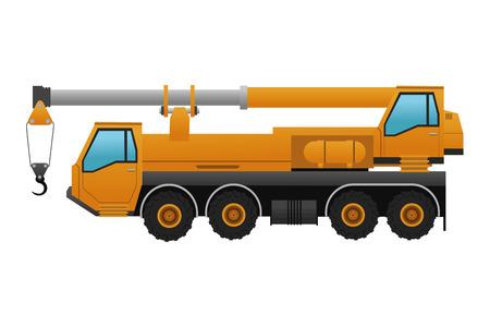 cartwheel: flat design truck crane icon vector illustration