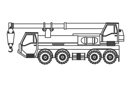 flat design truck crane icon vector illustration