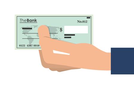 cheque en blanco: ilustración vectorial icono de verificación bancaria diseño plano Vectores
