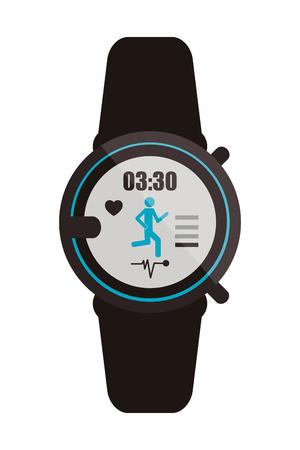 metrics: flat design heartrate wrist monitor icon vector illustration