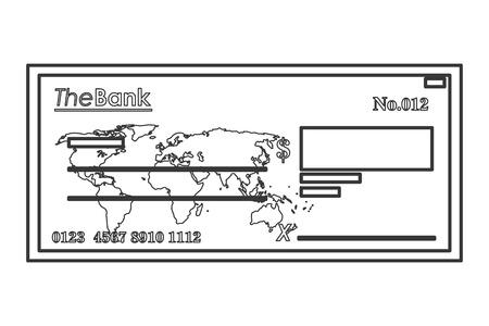 cheque en blanco: ilustración, diseño, verificación del icono del vector línea de diseño plano bancaria