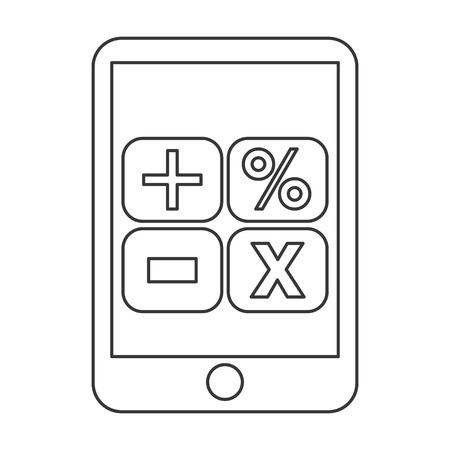 math icon: tablet device math operations icon isolated vector illustration