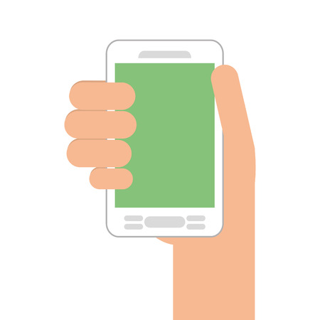 smartphone hand: human hand smartphone mobile isolated vector illustration