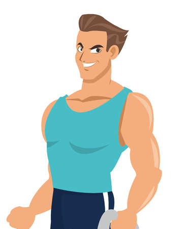 flat design man with fitness outfit icon vector illustration Illustration