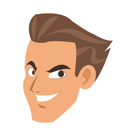 blue eyes: flat design face of young man smiling icon vector illustration