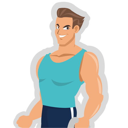 outfit: flat design man with fitness outfit icon vector illustration Illustration