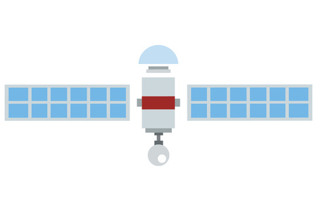 transponder: flat design single satelite icon vector illustration