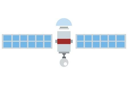 płaska konstrukcja pojedyncza satelitarna ilustracji wektorowych ikon