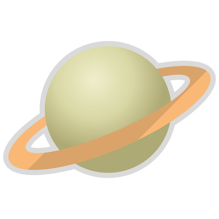 cosmology: flat design planet saturn icon vector illustration