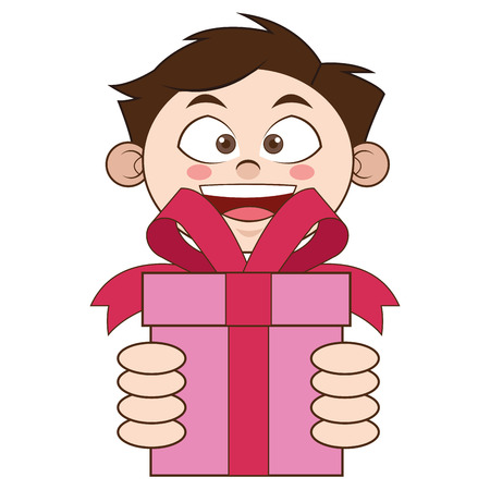 plat conception garçon holding gift icône illustration vectorielle