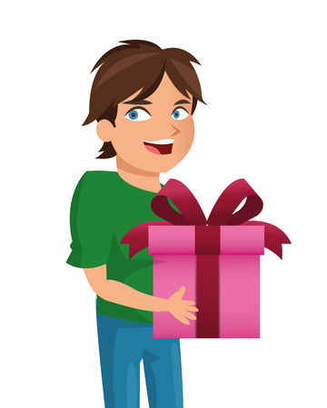 happyness: flat design boy holding gift icon vector illustration Illustration