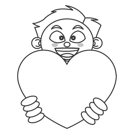 child of school age: flat design young boy holding cartoon heart icon vector illustration