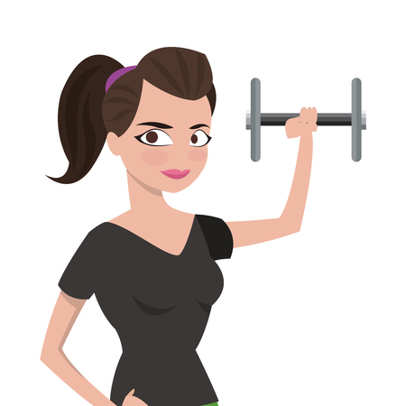 leggings: flat design woman with fitness outfit lifting dumbbell icon vector illustration Illustration