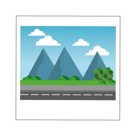 piatta progettazione del paesaggio illustrazione fotografia icone vettoriali