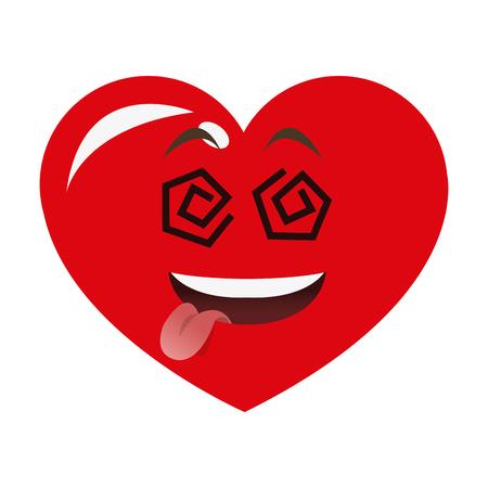 goofy: flat design goofy heart cartoon icon vector illustration Illustration