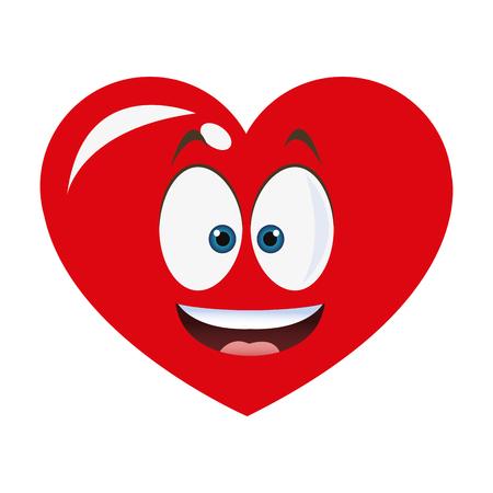 flat design smiling heart cartoon icon vector illustration