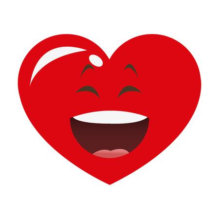 flat design laughing heart cartoon icon vector illustration Stock Illustratie