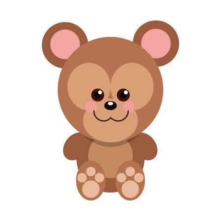 children s art: Cute baby bear cartoon isolated vector illustration