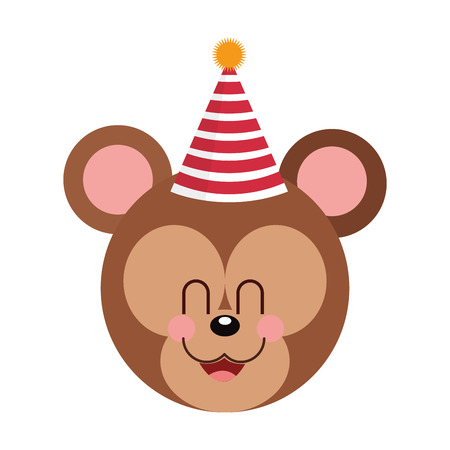 partying: cute baby bear party hat isolated vector illustration