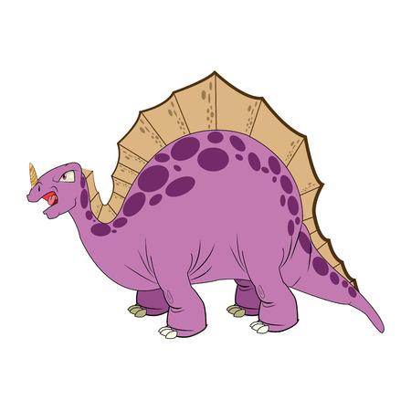 stegosaurus: estegosaurio c�mica de dibujos animados lindo drenaje aislado ilustraci�n vectorial
