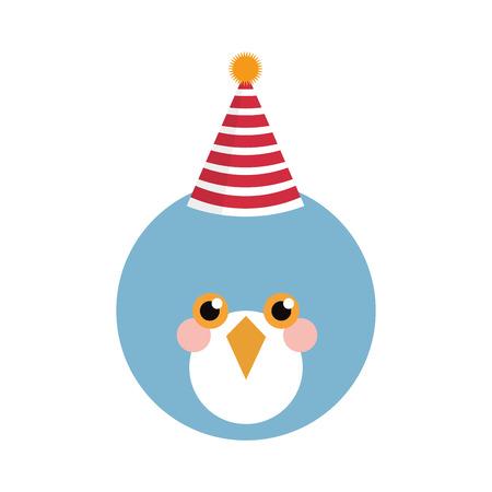 tweet balloon: Cute blue bird with party hat isolated vector illustration Illustration
