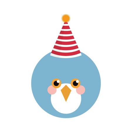 tweet balloon: Cute blue bird with party hat isolated vector illustration Illustration