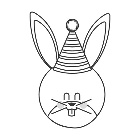 laying little: cute baby rabbit with hat party isolated vector illustration Illustration