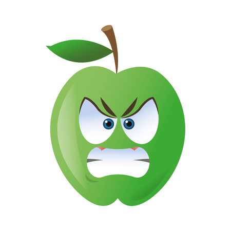 blushing: flat design angry apple cartoon icon vector illustration
