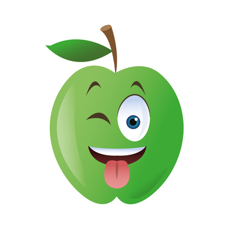 blushing: flat design wink tongue out apple cartoon icon vector illustration