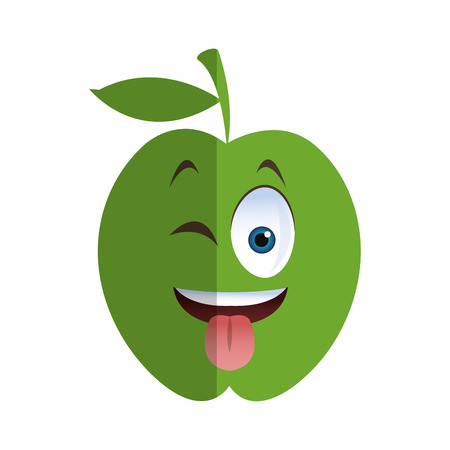 tongue out: flat design wink tongue out apple cartoon icon vector illustration