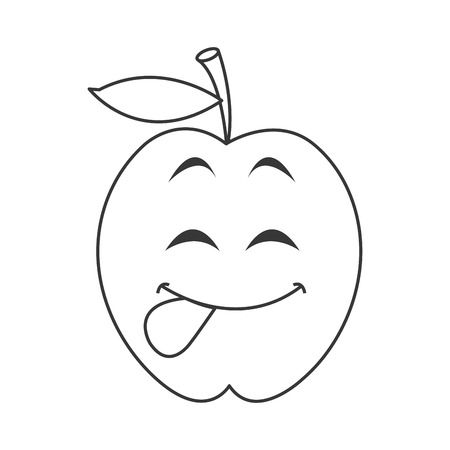 tongue out: flat design cute tongue out apple cartoon icon vector illustration Illustration