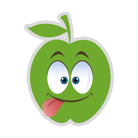 tongue out: flat design silly tongue out apple cartoon icon vector illustration